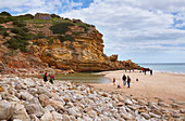 Steep coast and beach at Salema, Parque Natural do Sudoeste Alentejano e Costa Vicentina, Atlantic Ocean, District Faro, Region of Algarve, Portugal, Europe