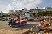 Fishing boats at Salema beach, Parque Natural do Sudoeste Alentejano e Costa Vicentina, Atlantic Ocean, District Faro, Region of Algarve, Portugal, Europe