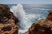 Breaking  waves at the steep coast near Sagres, Parque Natural do Sudoeste Alentejano e Costa Vicentina, Atlantic Ocean, District Faro, Region of Algarve, Portugal, Europe