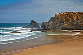 Steep coast and beach of Odeceixe, Praia de Odeceixe, 7 Maravilhas - Praia, 7 Wonders - Beach, Parque Natural do Sudoeste Alentejano e Costa Vicentina, Southwest Alentejo and Vicentine Coast Natural Park, Atlantic Ocean, District Faro, Region of Algarve, Portugal, Europe
