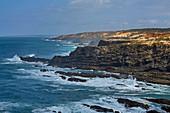 Steep coast at Cabo Sardao near Odemira, Parque Natural do Sudoeste Alentejano e Costa Vicentina, Southwest Alentejo and Vicentine Coast Natural Park, District Beja, Region of Alentejo, Portugal, Europe