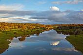 Sunset at a reservoir near Pedrógao, District Beja, Region of Alentejo, Portugal, Europe