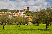 Castel and town of Portel, District Évora, Region of Alentejo, Portugal, Europe