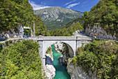 Bridge across the gorge Velika korita with the river Soca in the Soca Valley, Kobarid, Julian Alps, Goriska, Primorska, Slovenia, Central Europe, Europe
