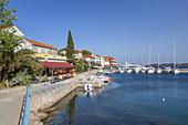 Restaurants and boats in the harbour of Božava, island Dugi Otok, Mediterranean Sea, Zadar, North Dalmatia, Dalmatia, Croatia, Southern Europe, Europe