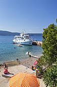 Boat in the harbour of Glavotok on the island Krk,   Mediterranean Sea, kvarner bay, Primorje-Gorski kotar, North Croatia, Croatia, Southern Europe, Europe