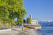 Castle Montfort with view over lake Constance to the Bregenzerwald mountains, Langenargen, Swabia, Baden-Wuerttemberg, South Germany, Germany, Central Europe, Europe
