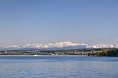 View over lake Constance to the Appenzell Alps in Eastern Switzerland, Meersburg, Baden, Baden-Wuerttemberg, South Germany, Germany, Central Europe, Europe