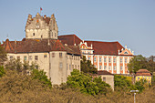 View of castle Meersburg and the New Castle, Meersburg on lake Constance, Baden, Baden-Wuerttemberg, South Germany, Germany, Central Europe, Europe