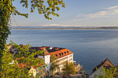 Old town of Meersburg on lake Constance with view over the lake to the Appenzell Alps in Eastern Switzerland, Meersburg, Baden, Baden-Wuerttemberg, South Germany, Germany, Central Europe, Europe