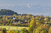 View over  Uhldingen-Mühlhofen on lake Constance to mountain Säntis in the Appenzell Alps in Eastern Switzerland, Baden, Baden-Wuerttemberg, South Germany, Germany, Central Europe, Europe