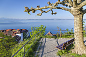 View over Meersburg and lake Constance, Baden, Baden-Wuerttemberg, South Germany, Germany, Central Europe, Europe