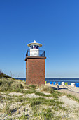 Lighthouse Olhörn at the beach, Wyk, North Frisian Island Föhr, North Sea, Schleswig-Holstein, Northern Germany, Germany, Europe