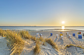 Sunset at the beach in Utersum, North Frisian Island Föhr, North Sea, Schleswig-Holstein, Northern Germany, Germany, Europe