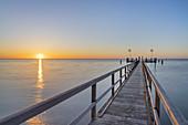 The pier of Wyk in the sunrise, North Frisian Island Föhr, North Sea, Schleswig-Holstein, Northern Germany, Germany, Europe
