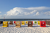 Beach chairs on the beach, North Sea island Helgoland, Schleswig-Holstein, Northern Germany, Germany, Europe