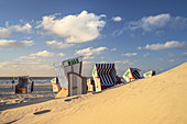 Beach chairs on the beach on the East Frisian Island Norderney, North Sea, Lower Saxony, Northern Germany, Germany, Europe