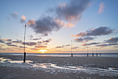 Sunset after a storm on the beach on the East Frisian Island Norderney, North Sea, Lower Saxony, Northern Germany, Germany, Europe