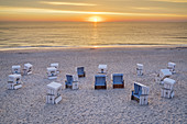 Sunset at the beach with beach chairs in Kampen, North Frisian Island Sylt, North Sea Coast, Schleswig-Holstein, Northern Germany, Germany, Europe