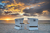 Sunrise at the beach with beach chairs in Hörnum, North Frisian Island Sylt, North Sea coast, Schleswig-Holstein, Northern Germany, Germany, Europe