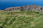 Village of Chipude with La Merica in background, La Gomera, Canary Islands, Canaries, Spain