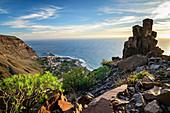 Blick von La Merica auf Hafen Vueltas im Valle Gran Rey, La Gomera, Kanarische Inseln, Kanaren, Spanien
