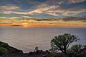 Sunset from La Merica with view to island El Hierro, from La Merica, La Gomera, Canary Islands, Canaries, Spain