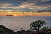 Sonnenuntergang von La Merica mit Blick auf El Hierro, La Merica, La Gomera, Kanarische Inseln, Kanaren, Spanien