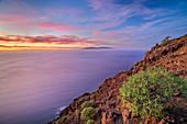 Cliff of La Merica with view to La Palma, La Merica, La Gomera, Canary Islands, Canaries, Spain