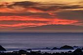 Abendstimmung am Strand mit Blick auf El Hierro, Valle Gran Rey, La Gomera, Kanarische Inseln, Kanaren, Spanien