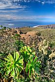 Blick vom Gipfelplateau des Fortaleza auf El Hierro, am Fortaleza, La Gomera, Kanarische Inseln, Kanaren, Spanien
