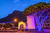 Illuminated chapel Ermita de San Pedro in La Playa, Valle Gran Rey, La Gomera, Canary Islands, Canaries, Spain