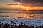 Sonnenuntergang am Strand, von Valle Gran Rey, La Gomera, Kanarische Inseln, Kanaren, Spanien
