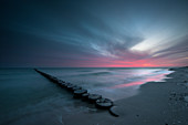 Dawn, Groyne, Beach, Prerow, Fischland-Darß-Zingst, Mecklenburg-Vorpommern, Germany, Europe