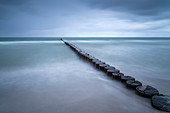 Groyne, Wave, Overcast, Beach, Prerow, Fischland-Darß-Zingst, Mecklenburg-Vorpommern, Germany, Europe