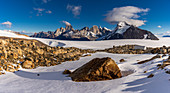 Panorama on ice field around the Refugio Garcia Soto (Chile), in the background Fitz Roy & Cerro Torre, Los Glaciares National Park, Patagonia, Argentina