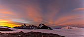 Panorama around the Refugio Garcia Soto (Chile) at sunrise, Fitz Roy in the background, Los Glaciares National Park, Patagonia, Argentina