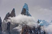 The snowy summit of Cerro Torre, from Circo de los Altares, Los Glaciares National Park, Patagonia, Argentina