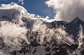 Clouds over summit at Mont Blanc, Storm, Mont Blanc group, Chamonix, France