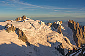 View of the Aiguille du Midi in the morning light from afar, Aiguille du Midi, Aiguille du Plan, Mont Blanc group, Chamonix, France