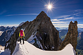 Climbers at Dome de Rochefort, Grandes Jorasses, Mont Blanc group, France