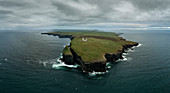 aerial view of Loop head Lighthouse, country Clare, Munster province, Shannon, Ireland, Europe