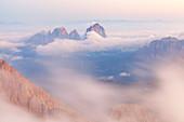 Sassolungo group from Punta Penia at dawn, Marmolada group, Dolomites, Canazei, Trento province, Trentino-Alto Adige, Italy