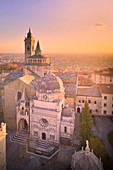 Basilica of Santa Maria Maggiore with Colleoni Chapel from above during sunset. Bergamo(Upper town), Lombardy, Italy.