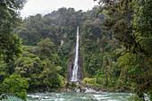 Thunder Creek Falls an einem regnerischen Tag, Westküste, Südinsel, Neuseeland
