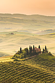 Belvedere farmhouse at sunrise, orcia valley, Siena province, tuscany, italy
