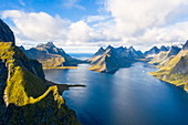 Aerial view of mountains and sea surrounding Reine Bay, Moskenes, Nordland, Lofoten Islands, Norway