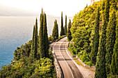 Scenic road SS45 on the west coast of GArda Lake near Tremosine. Brescia Province, Lombardia, Italy