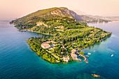 Aerial view of Punta San Vigilio on Garda Lake. Verona Province, Veneto, Italy