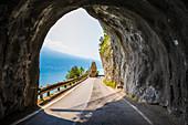 Scenic Strada della Forra on the west coast of GArda Lake near Tremosine. Brescia Province, Lombardia, Italy
